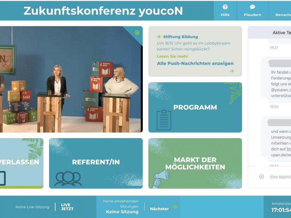 Die virtuelle Konferenzumgebung: Julius Grund (Institut Futur), Lilly Blaudszun (Moderation) und Ann-Kathrin Keppke (Kreidestaub e.V.) im Livestream